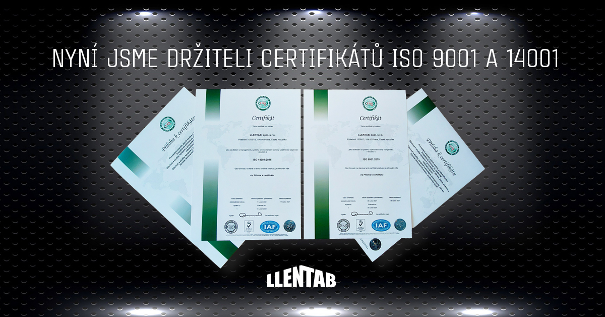 LLENTAB ISO Certifikáty 9001,14001
